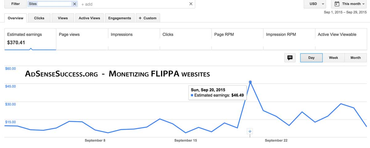 Flippa Website Adsense Income - September 2015