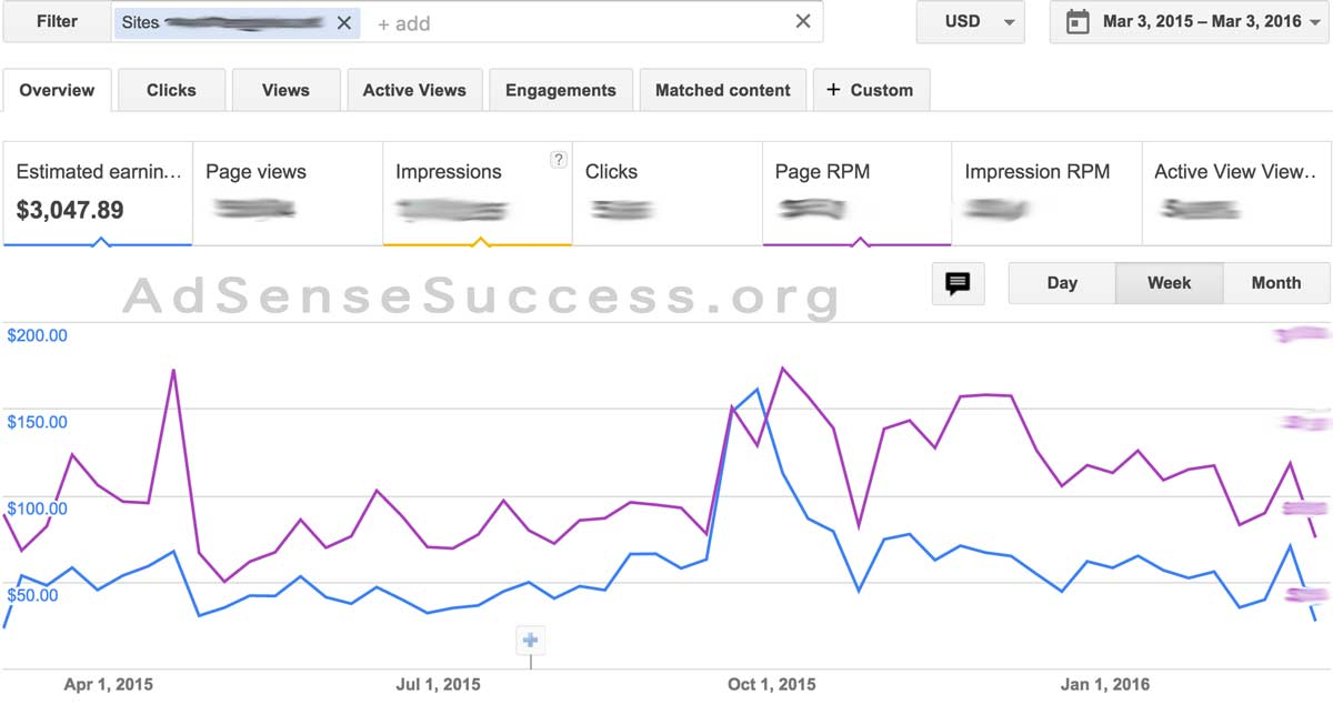 AdSense Earnings + RPM 1 year - FLIPPA Site 1