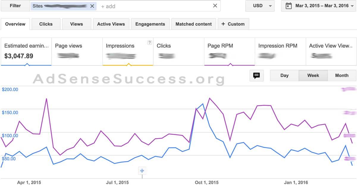 AdSense Earnings + RPM 1 year - FLIPPA Site 1