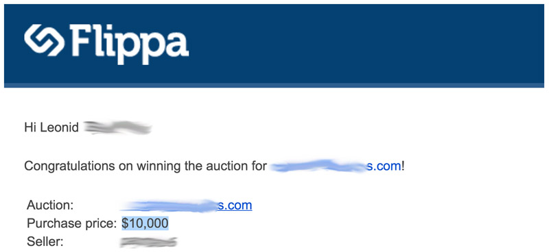 Winning $10000 flippa auction