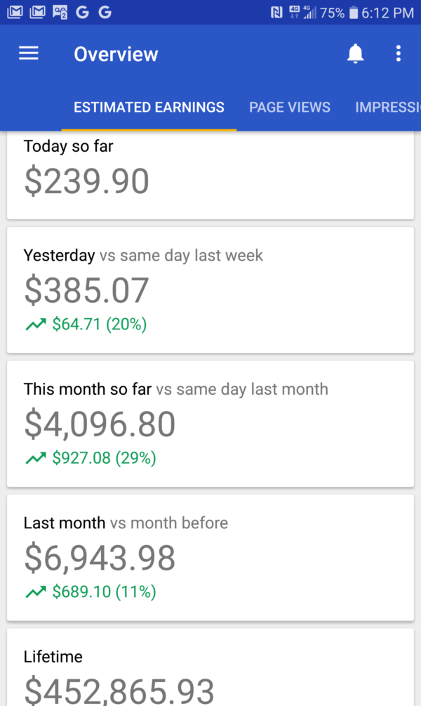 AdSense report - Nov 14, 2019