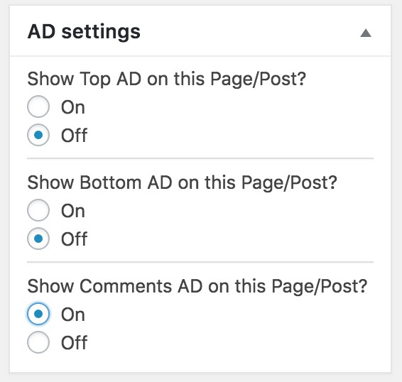 Disable ads on individual posts or pages