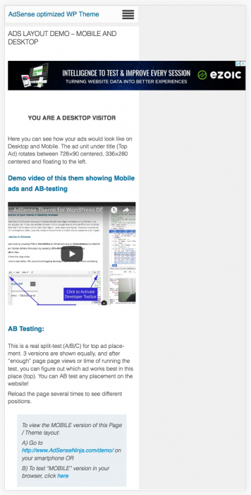 AdSense on non optimized mobile site
