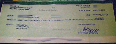 April 2011 $15317 Adsense check