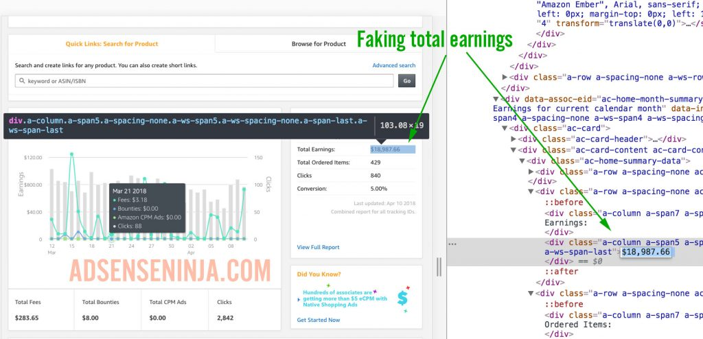 Fake Amazon Affiliate Income using Browser Inspect Element