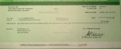 Feb 2011 Adsense check for $6761