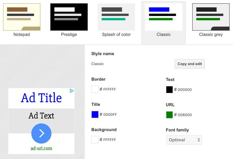 Google AdSense - Classic Color Scheme