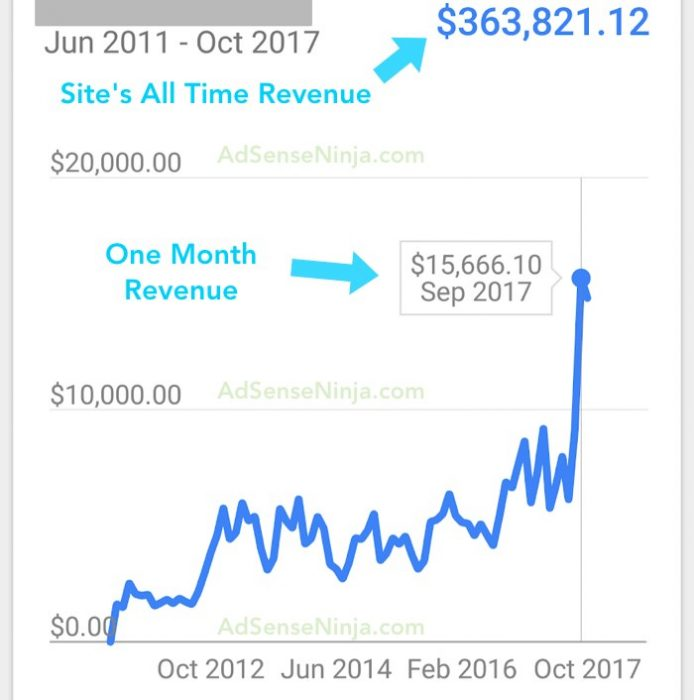 Lifetime Website Adsense earnings