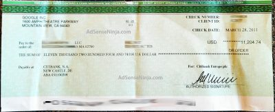 Mar 2011 $11204 AdSense Check