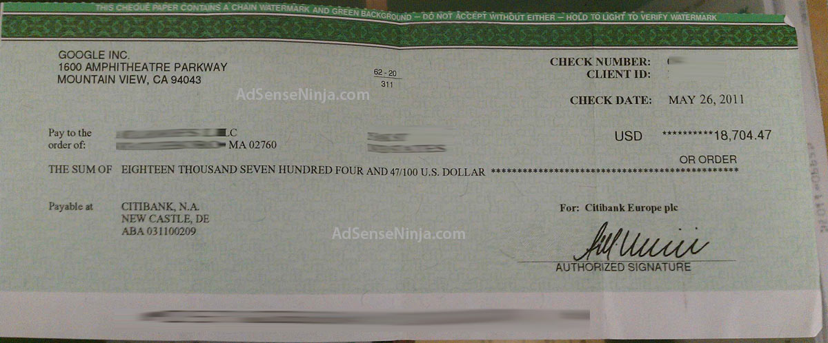 AdSense Check $18704 - May 2011